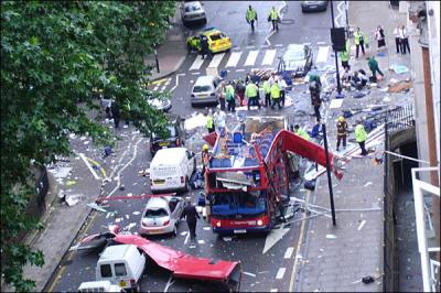 The remains of the double-decker bus in Upper Woburn Place following the explosion