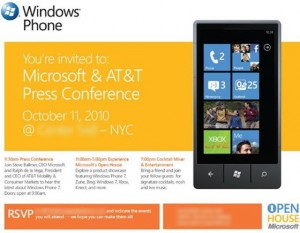 Windows Phone 7 press conference invite